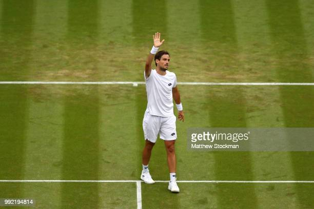 Guido Pella of Argentina celebrates after defeating Marin Cilic of Croatia in their Men's Singles second round match on day four of the Wimbledon...