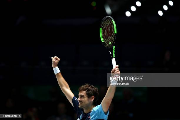 Guido Pella of Argentina celebrates during Day 2 of the 2019 Davis Cup at La Caja Magica on November 19 2019 in Madrid Spain