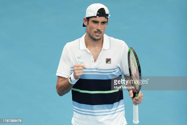 Guido Pella of Argentina celebrates winning match point during his Group E singles match against Kamil Majchrzak of Polandduring day two of the 2020...