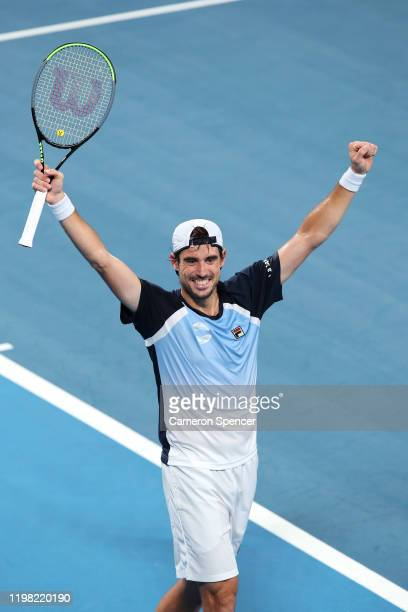 Guido Pella of Argentina celebrates winning match point during his Group E singles match against Marin Cilic of Croatiaduring day six of the 2020 ATP...