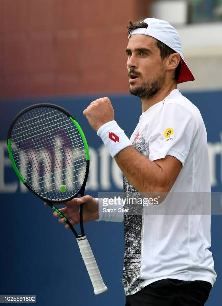 Guido Pella of Argentina during the men's singles third round match against Nikoloz Basilashvili of Georgia on Day Five of the 2018 US Open at the...