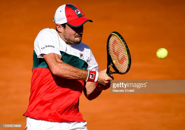 Guido Pella of Argentina hits a backhand during his Men's Singles match against Juan Ignacio Londero of Argentina during day 5 of ATP Buenos Aires...