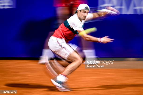 Guido Pella of Argentina hits a forehand during his Men's Singles match against Facundo Bagnis of Argentina during day 4 of ATP Buenos Aires...
