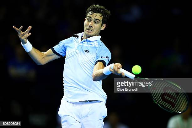 Guido Pella of Argentina hits a forehand during his singles match against Kyle Edmund of Great Britain during day one of the Davis Cup Semi Final...