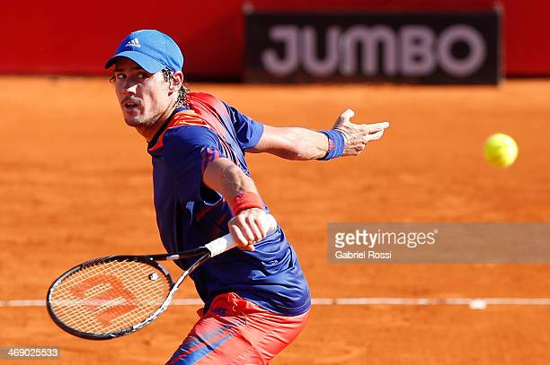 Guido Pella of Argentina makes a shot during a tennis match between Tommy Robredo and Guido Pella as part of ATP Buenos Aires Copa Claro on February...