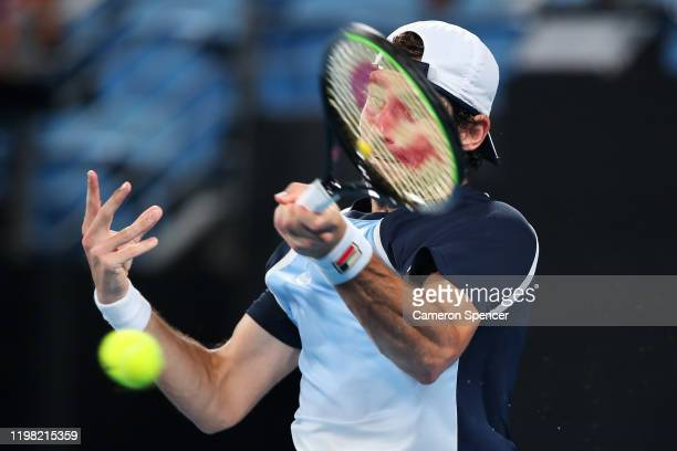 Guido Pella of Argentina plays a forehand during his Group E singles match against Marin Cilic of Croatia during day six of the 2020 ATP Cup Group...