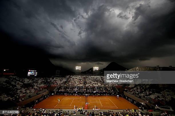 Guido Pella of Argentina plays Dominic Thiem of Austria during the Rio Open at Jockey Club Brasileiro on February 20 2016 in Rio de Janeiro Brazil