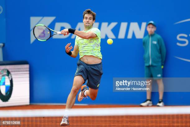 Guido Pella of Argentina plays the ball during his quater finale match against Horacio Zeballos of Argentina at the 102 BMW Open by FWU at Iphitos...
