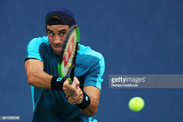 Guido Pella of Argentina returns a shot against David Goffin of Belgium during their second round Men's Singles match on Day Four of the 2017 US Open...