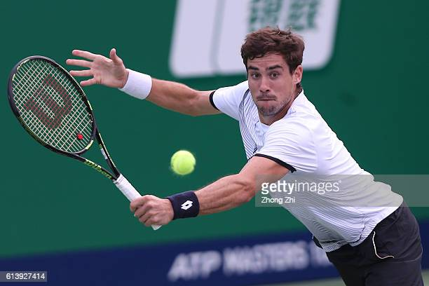 Guido Pella of Argentina returns a shot during the match against Jack Sock of the United States on Day 3 of the ATP Shanghai Rolex Masters 2016 at Qi...