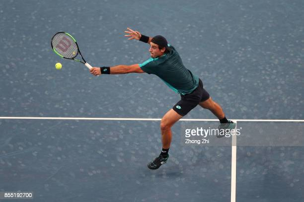 Guido Pella of Argentina returns a shot during the match against Dominic Thiem of Austria during Day 4 of 2017 ATP Chengdu Open at Sichuan...
