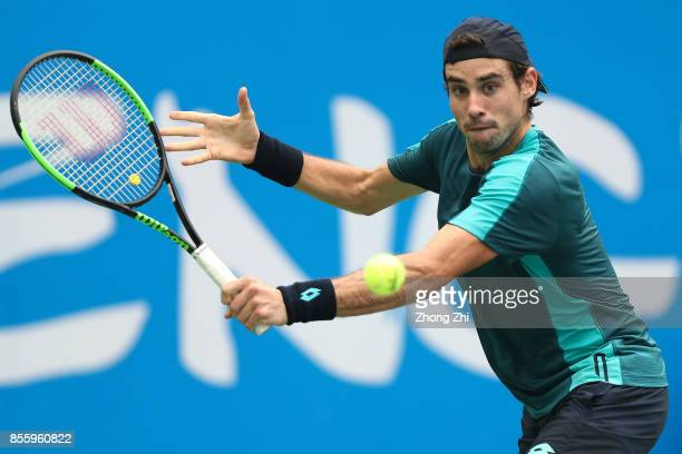 Guido Pella of Argentina returns a shot during the semi final match against Marcos Baghdatis of Cyprus during Day 6 of 2017 ATP Chengdu Open at...