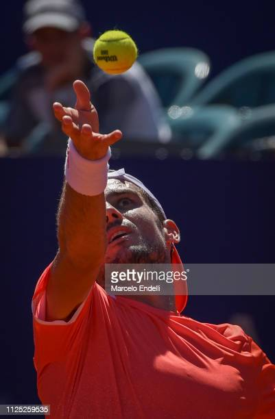 Guido Pella of Argentina serves during a semifinal match against Marco Cecchinato of Italy as part of Argentina Open ATP 250 2019 at Buenos Aires...