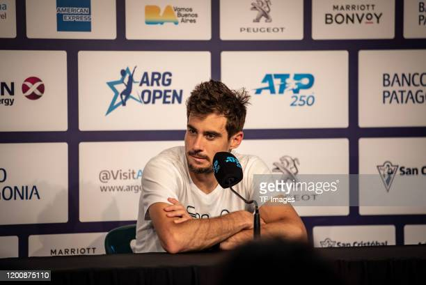 Guido Pella of Argentina speak with during day 5 of ATP Buenos Aires Argentina Open at Buenos Aires Lawn Tennis Club on February 14 2020 in Buenos...