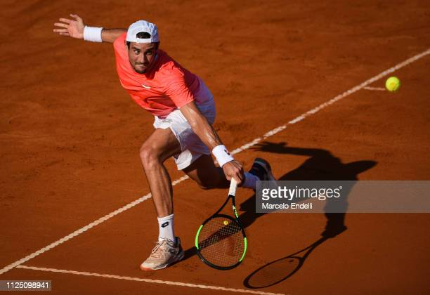 Guido Pella of Argentina takes a backhand shot against Jaume Munar of Spain during the Argentina Open ATP 250 2019 at Buenos Aires Lawn Tennis Club...