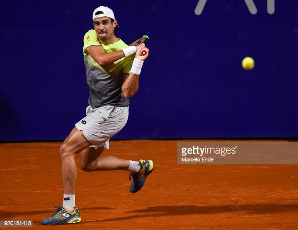 Guido Pella of Argentina takes a backhand shot during a quarter final match between Dominic Thiem of Austria and Guido Pella of Argentina as part of...