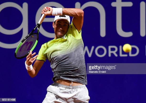 Guido Pella of Argentina takes a forehand shot during a quarter final match between Dominic Thiem of Austria and Guido Pella of Argentina as part of...