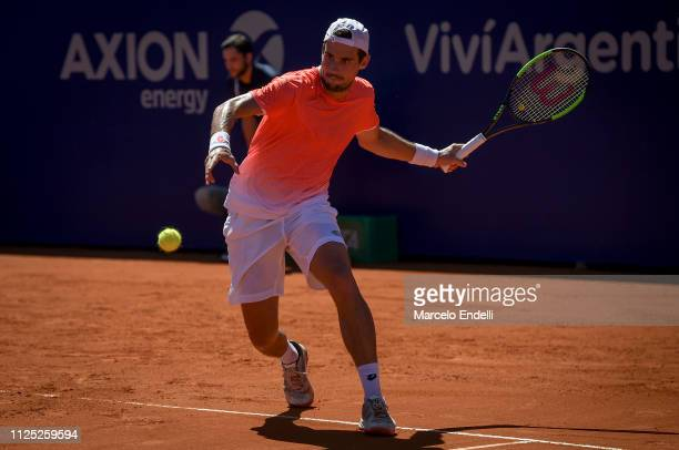 Guido Pella of Argentina takes a forehand shot during a semifinal match against Marco Cecchinato of Italy as part of Argentina Open ATP 250 2019 at...