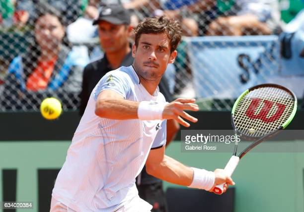 Guido Pella of Argentina takes a forehand shot during a singles match between Guido Pella and Fabio Fognini as part of day 3 of the Davis Cup 1st...