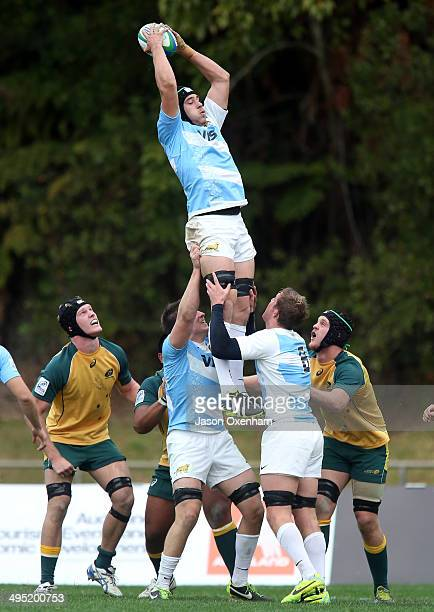 Guido Peti Pagadizabal of Argentina wins lineout ball during the 2014 Junior World Championships match between Argentina and Australia at ECOLight...