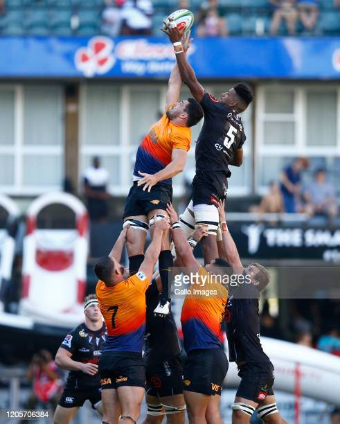 Guido Petti of the Jaguares and Hyron Andrews of the Cell C Sharks during the Super Rugby match between Cell C Sharks and Jaguares at Jonsson Kings...