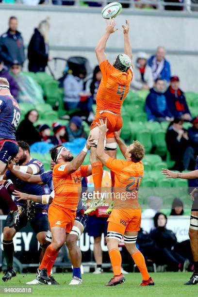 Guido Petti Pagadizaval of the Jaguares catches the ball out of a line out during the round nine Super Rugby match between the Rebels and the...