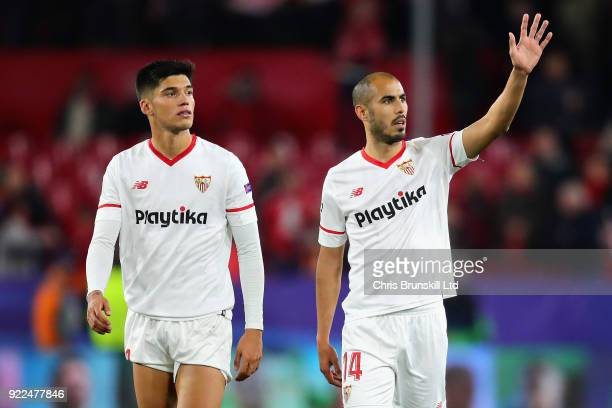 Guido Pizarro of Sevilla FC and teammate Joaquin Correa after the UEFA Champions League Round of 16 First Leg match between Sevilla FC and Manchester...