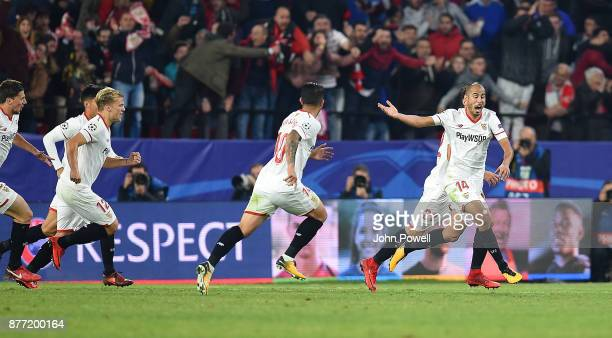 Guido Pizarro of Sevilla FC celebrates after scoring the equalizing goal during the UEFA Champions League group E match between Sevilla FC and...