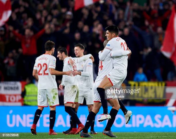 Guido Pizarro of Sevilla FC celebrates their victory with teammate Joaquin Correa after the Copa del Rey semifinal second leg match between Sevilla...