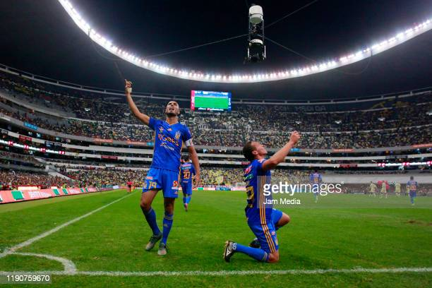 Guido Pizarro of Tigres celebrates after scoring the first goal of his team during the quarterfinals first leg match between America and Tigres UANL...