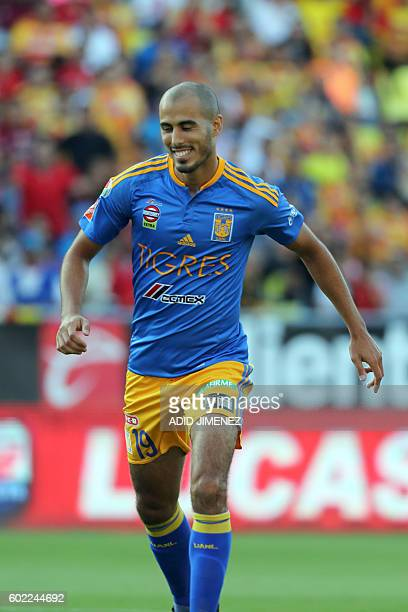 Guido Pizarro of Tigres celebrates his goal against Morelia during their Mexican Apertura 2016 tournament football match at the Jose Maria Morelos y...