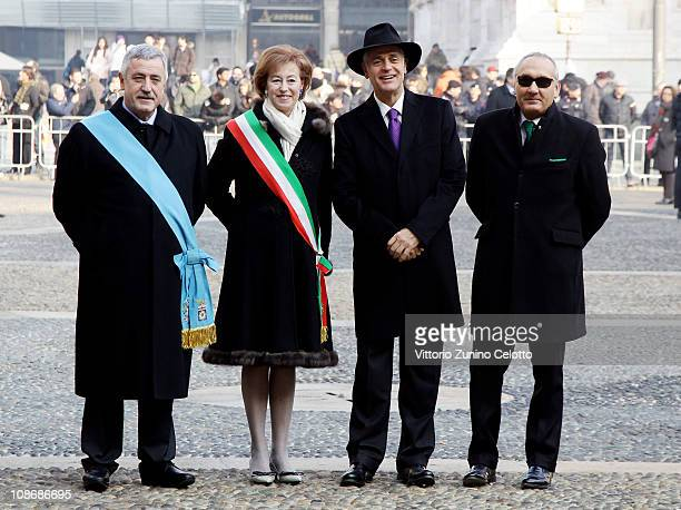 Guido Podesta Letizia Moratti Roberto Formigoni and Davide Boni visit the Museo Del Novecento on February 1 2011 in Milan Italy The Museo del...