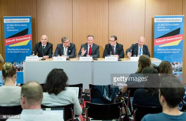 Guido Reil Georg Pazderski Steffen Koeniger and Andreas Kalbitz of Antiimmigration populist Alternative fuer Deutschland party holds a press...