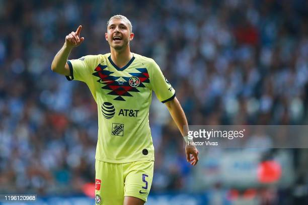 Guido Rodríguez of America gestures during the Final first leg match between Monterrey and America as part of the Torneo Apertura 2019 Liga MX at...