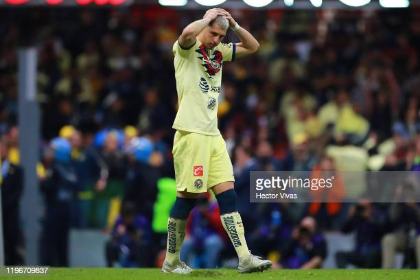 Guido Rodríguez of America reacts during the Final second leg match between America and Monterrey as part of the Torneo Apertura 2019 Liga MX at...