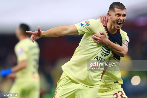 Guido Rodriguez of America celebrate with teammates after scoring the 4th goal of his team during the semifinal second leg match between America and...