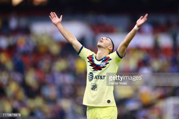 Guido Rodriguez of America celebrates after scoring the first goal of his team during the 13th round match between Cruz Azul and America as part of...