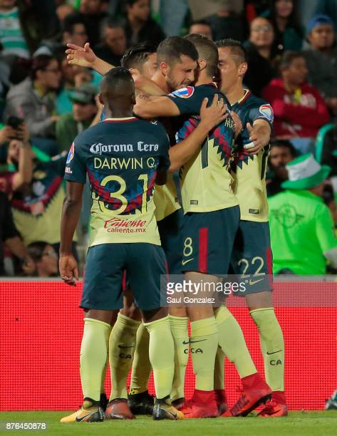 Guido Rodriguez of America celebrates after scoring the first goal of his team during the 17th round match between Santos Laguna and America as part...