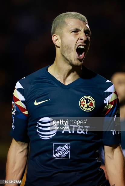 Guido Rodriguez of America celebrates after scoring the second goal of his team during the quarterfinals second leg match between Tigres UANL and...