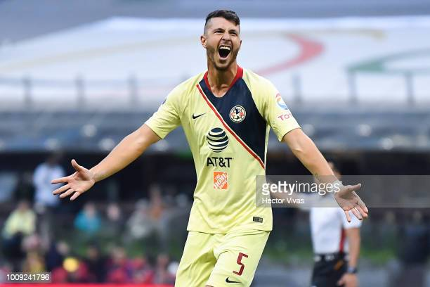 Guido Rodriguez of America celebrates after scoring the third goal of his team during the second round match between Club America and Atlas as part...
