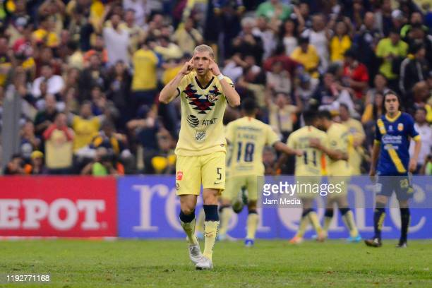 Guido Rodriguez of America celebrates after the second scored goal of his team during the Semifinals second leg match between America and Morelia as...