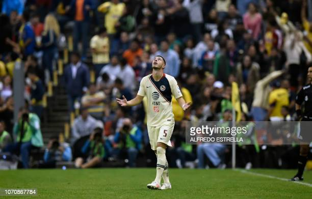 Guido Rodriguez of America celebrates his goal against Pumas during the second round of semifinals of the Mexican Apertura tournament football match...