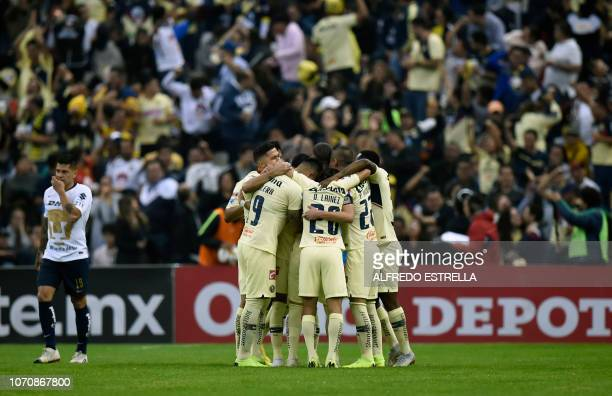 Guido Rodriguez of America celebrates his goal against Pumas with his teammates during the second round of semifinals of the Mexican Apertura...