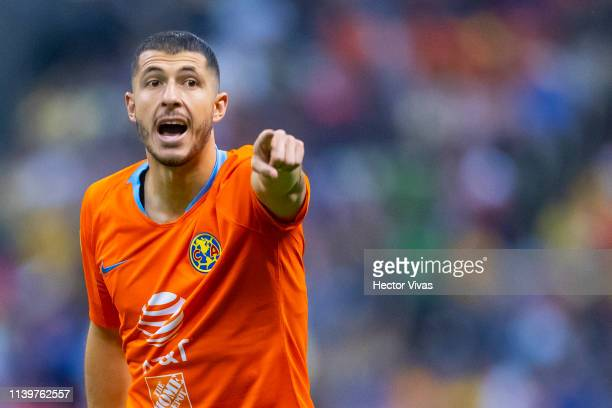 Guido Rodriguez of America gestures during the 12th round match between America and Tigres UANL as part of the Torneo Clausura 2019 Liga MX at Azteca...