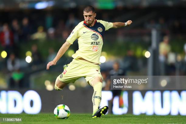 Guido Rodriguez of America kicks the ball during the quarterfinals match between America and Chivas as part of the Copa MX Clausura 2019 at Azteca...