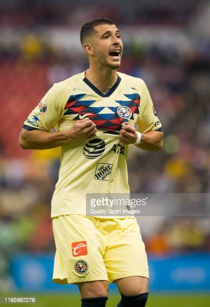 Guido Rodriguez of America reacts during the 3rd round match between America and Tijuana as part of the Torneo Apertura 2019 Liga MX at Azteca...