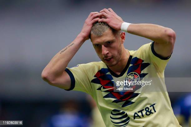 Guido Rodriguez of America reacts during the Semifinals second leg match between America and Morelia as part of the Torneo Apertura 2019 Liga MX at...