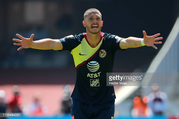 Guido Rodriguez of America reacts during the seventh round match between Pumas UNAM and America as part of the Torneo Clausura 2019 Liga MX at...