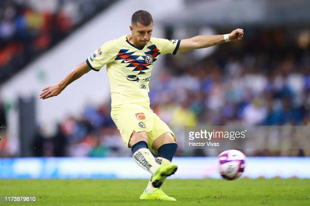 Guido Rodriguez of America scores the first goal of his team during the 13th round match between Cruz Azul and America as part of the Torneo Apertura...