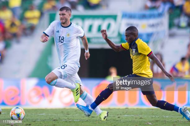 Guido Rodriguez of Argentina and Jhonny Quinones of Ecuador battle for the ball during the UEFA Euro 2020 qualifier between Ecuador and Argentina on...